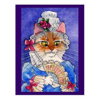 Postal Gato como reina Marie Antonieta