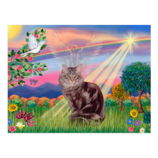 Postal Gato de Coon de Maine - ángel de la nube