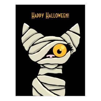 Postal Gato de la momia del feliz Halloween