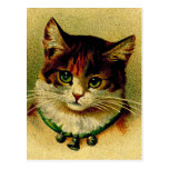 Postal Gato de ojos verdes del vintage con los cascabeles