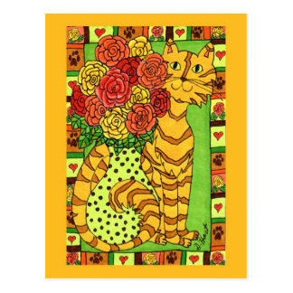 Postal Gato de oro con los rosas