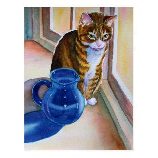Postal Gato de Tabby con el florero azul