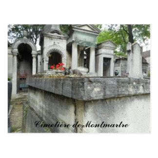 Postal Gato del cementerio de Montmartre (texto)