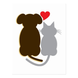 Postal Gato del corazón del perro