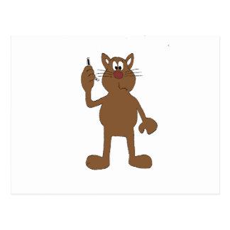 Postal Gato del dibujo animado con el teléfono celular