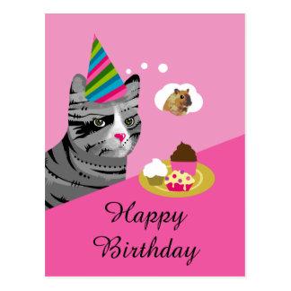 Postal Gato del feliz cumpleaños con las magdalenas