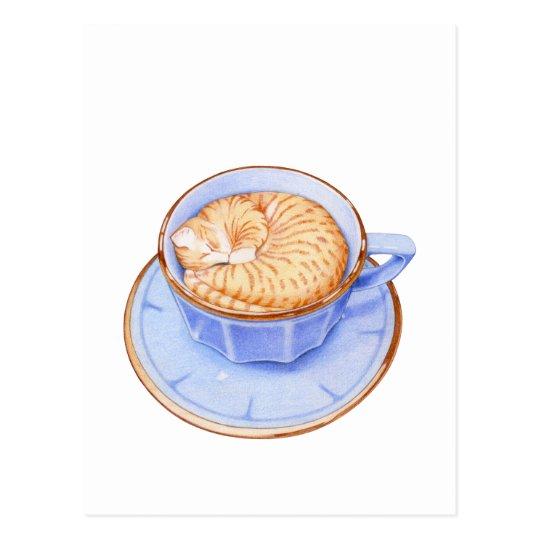 Postal Gato en café