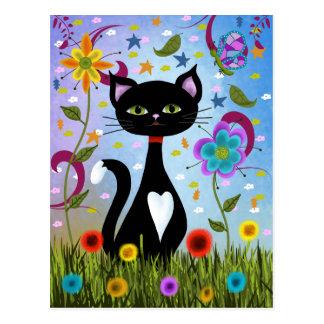 Postal Gato en un arte abstracto del jardín