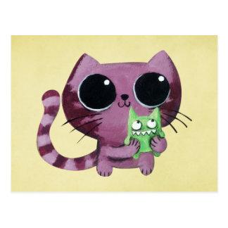 Postal Gato lindo del gatito con el pequeño monstruo