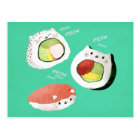 Postal Gato lindo del sushi