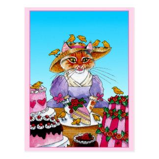 Postal Gato lindo, pájaro, torta de cumpleaños