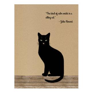 Postal Gato negro diseñado elegante - cita de Renard
