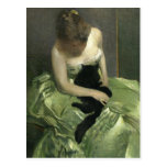 Postal Gato negro en el vestido verde