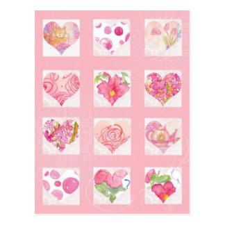Postal Gato rosado de los rosas del collage de los
