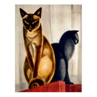 Postal Gatos del art déco
