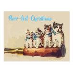 Postal Gatos divertidos del navidad del Victorian