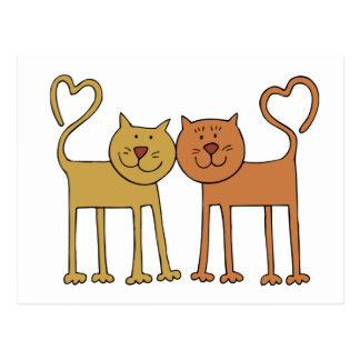 Postal Gatos lindos del dibujo animado con las colas