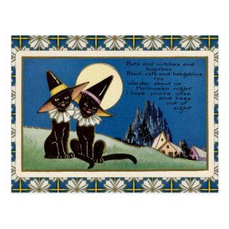 Postal Gatos negros Halloween del vintage dos