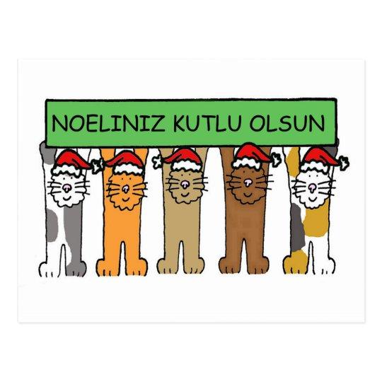 Postal Gatos turcos Noeliniz Kutlu Olsu del navidad