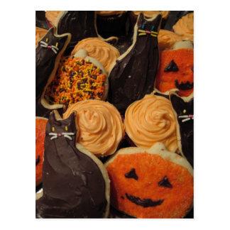 Postal Gatos y calabazas de las galletas de Halloween