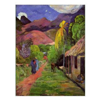 Postal Gaugin - camino en Tahití