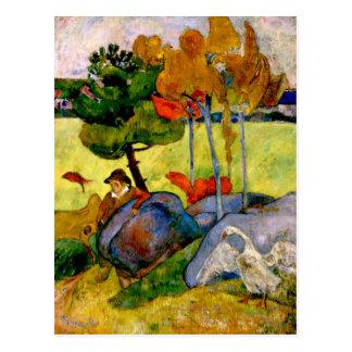 Postal Gauguin - muchacho bretón en un paisaje