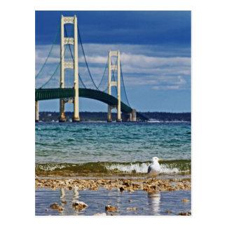 Postal Gaviota por el puente de Mackinac