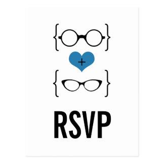 Postal Geeky azul de RSVP de los vidrios