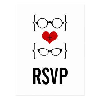 Postal Geeky de RSVP de los vidrios