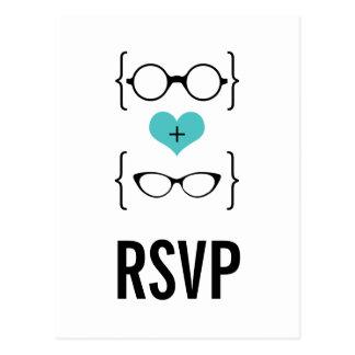 Postal Geeky de RSVP de los vidrios de la
