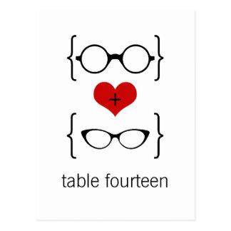 Postal Geeky del número de la tabla de los vidrios