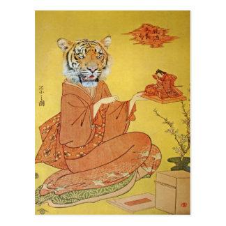 Postal Geisha del tigre con el samurai miniatura