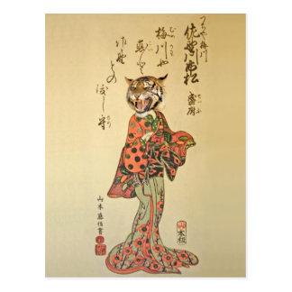 Postal Geisha del tigre en vestido de flores