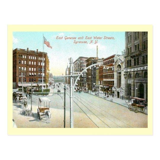 Postal Genesee y calle del agua, vintage de Syracuse,