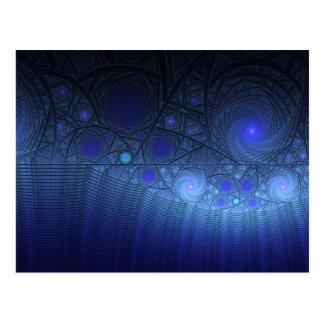 Postal geométrica azul de la cascada espiral