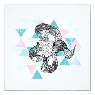 Postal geométrica del ejemplo de la serpiente invitación 13,3 cm x 13,3cm