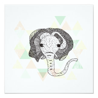 Postal geométrica del ejemplo del elefante grande invitación 13,3 cm x 13,3cm