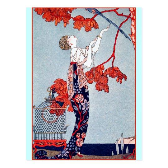 """Postal George Barbier """"L'Oiseau Volage"""" 1914"""