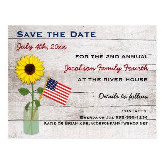 Postal Girasol fiesta del 4 de julio o reserva de la