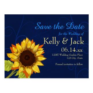 Postal Girasol/reserva el boda azul de la fecha