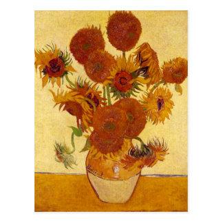 Postal Girasoles en una bella arte de Van Gogh del