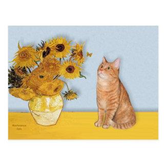 Postal Girasoles - gato de Tabby anaranjado 46