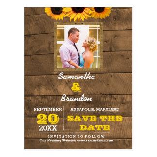Postal Girasoles y reserva del boda del oro de Barnwood