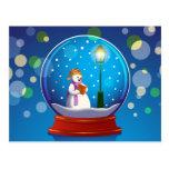 Postal Globo de la nieve con el canto del muñeco de nieve