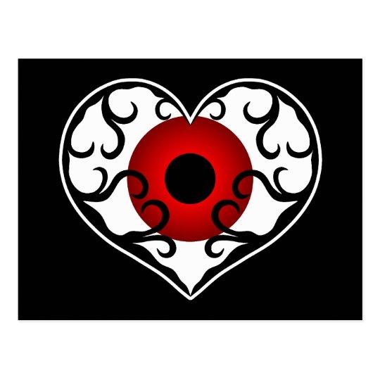 Postal Globo del ojo rojo en corazón