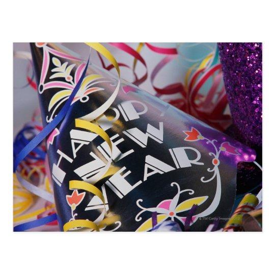 Postal Gorras y flámulas del fiesta del Año Nuevo