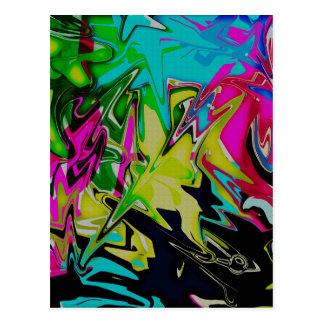 Postal Goteo fundido abstracto oscuro del color