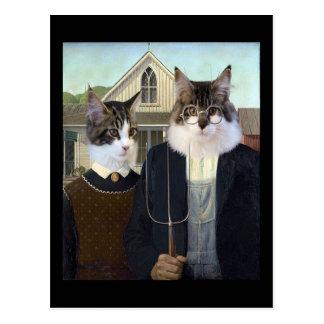 Postal gótica americana de la parodia de los gatos