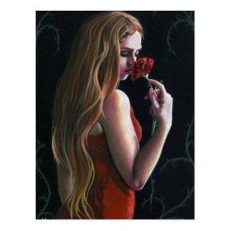 Postal gótica de señora Flower del clavel rojo del