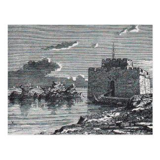 Postal Grabado del siglo XIX del fuerte medieval de